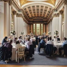 Wedding breakfast in the Upper Library - photo credit Paul Raeburn Photography