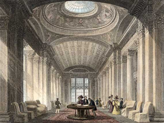 Thomas H Shepherd's engraving of the Upper Library showing the table now in the Colonnade