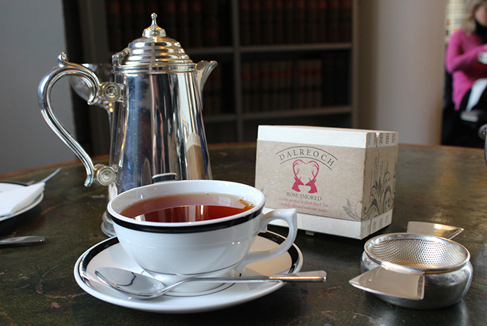Rose Smoked Tea from the Wee Tea Company , served at Colonnades, Edinburgh
