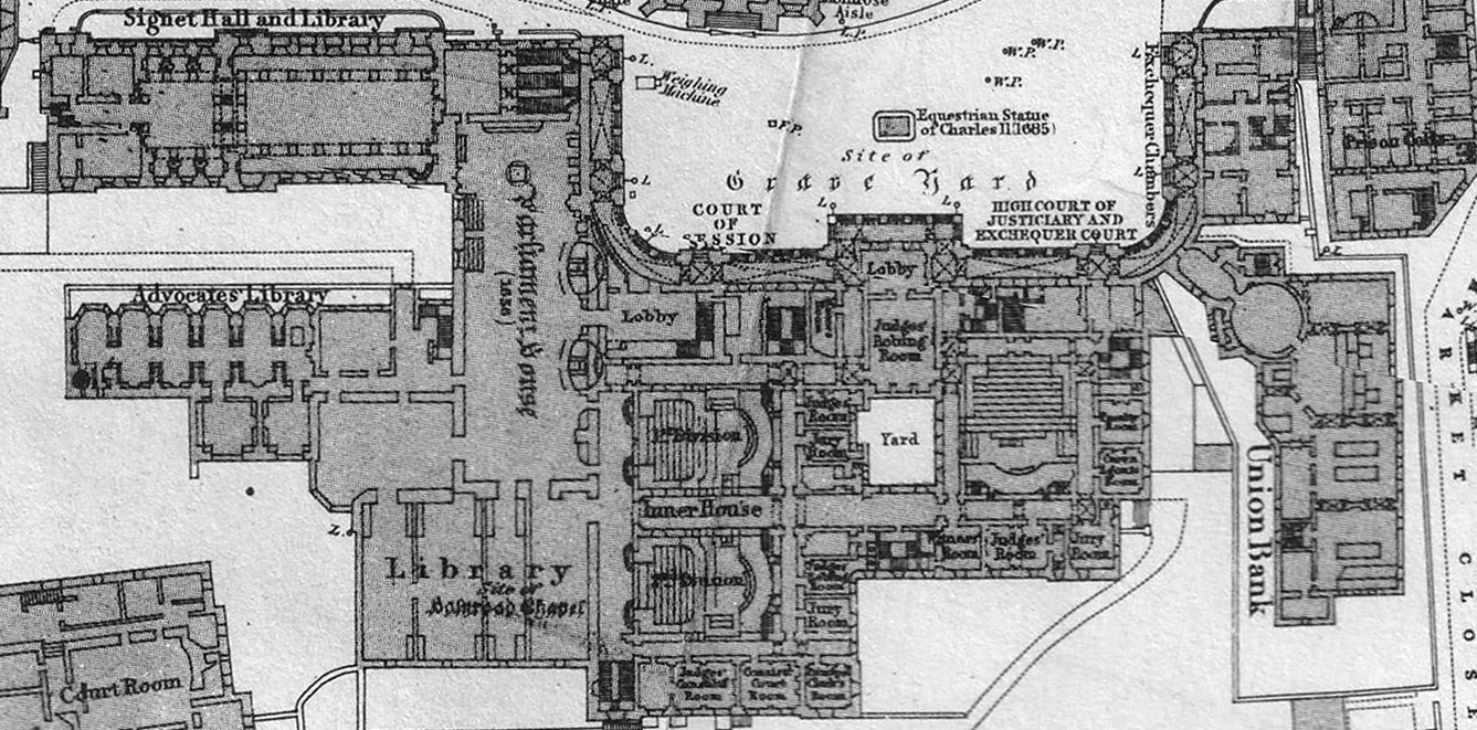 Plan of the Signet Library and surrounding buildings 1870