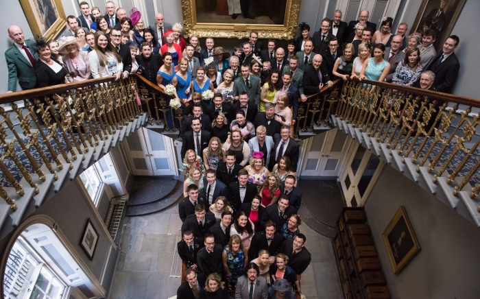 group photo on the staircase - spring wedding at the Signet Library, Edinburgh