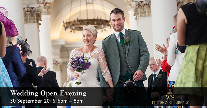 wedding open evening at the Signet Library, Edinburgh